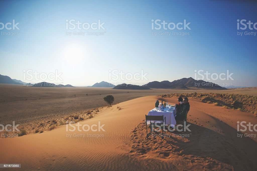 Dune Breakfast Coffee Scene stock photo