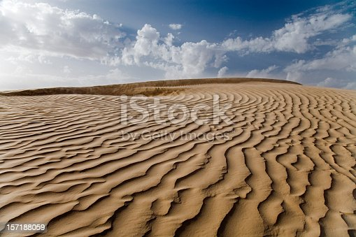 Sand hills landscape. Panoramic desert with ripples isolated on whete background