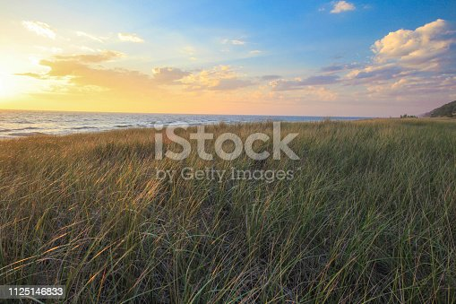 832047798 istock photo Dune Grass Sunset On The Coast Of Lake Michigan 1125146833