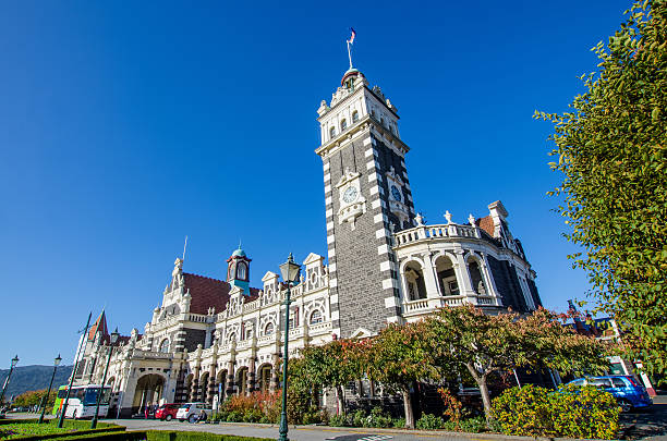 Dunedin Railway Station located at south island of New Zealand. stock photo