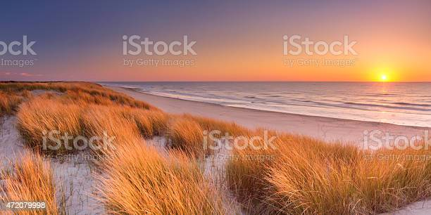 Photo of Dunes and beach at sunset on Texel island, The Netherlands