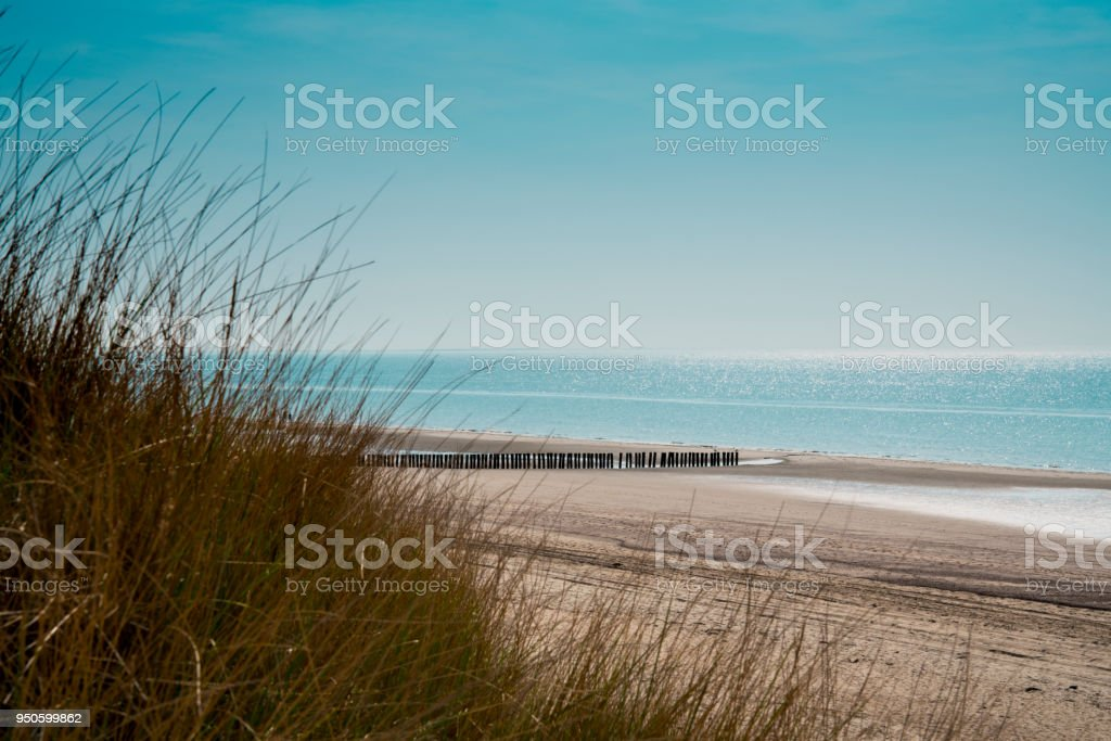 dunes and breakwaters on the beach of Burgh Haamstede, The Netherlands 2 stock photo