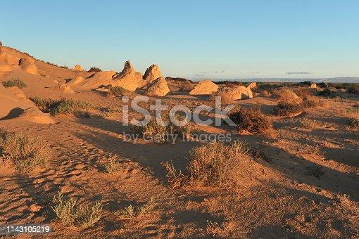 Dunes in the Sahara desert, lit by the morning sun.
