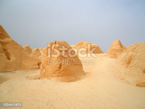 Huge rock formations near the White desert in Egypt, panoramic shot
