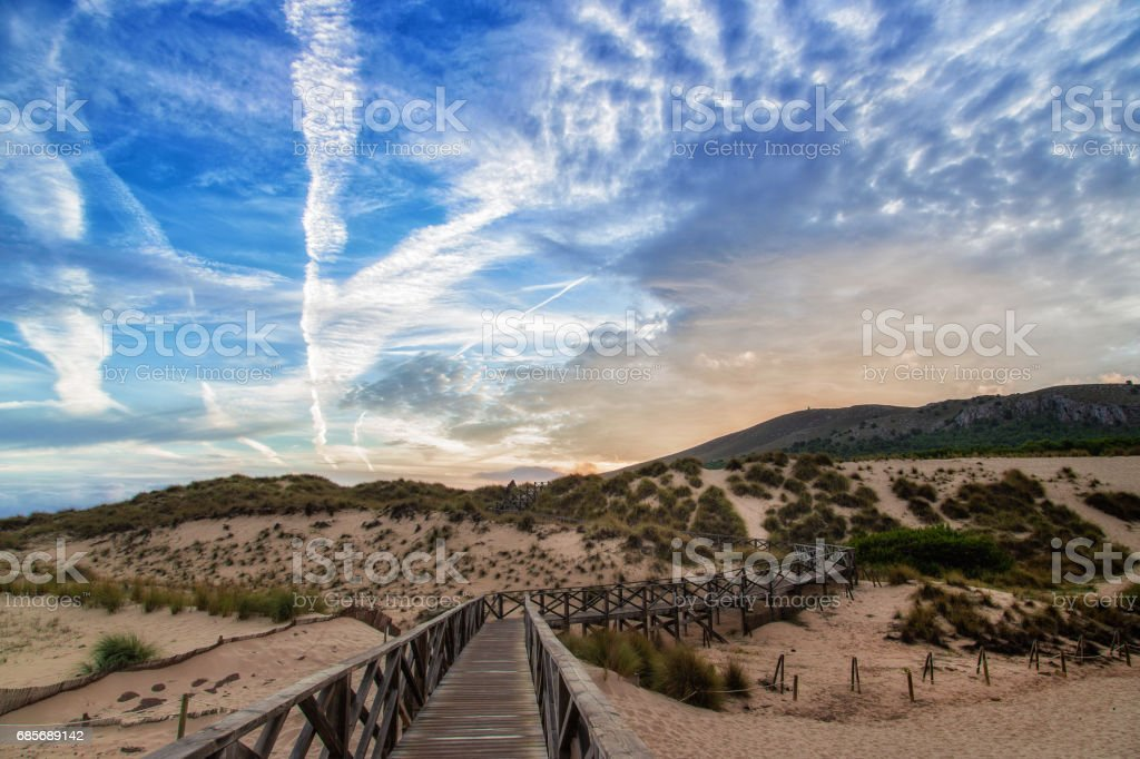 Dunes of Cala Mesquida in Mallorca with blue sky royalty-free 스톡 사진