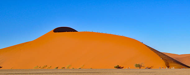Dunes of the Namib Sand Sea People climbing up the large sand dunes in the Namib Sand Sea in Namibia Africa. The Namib Sand Sea is listed in the World Heritage list. namib desert stock pictures, royalty-free photos & images