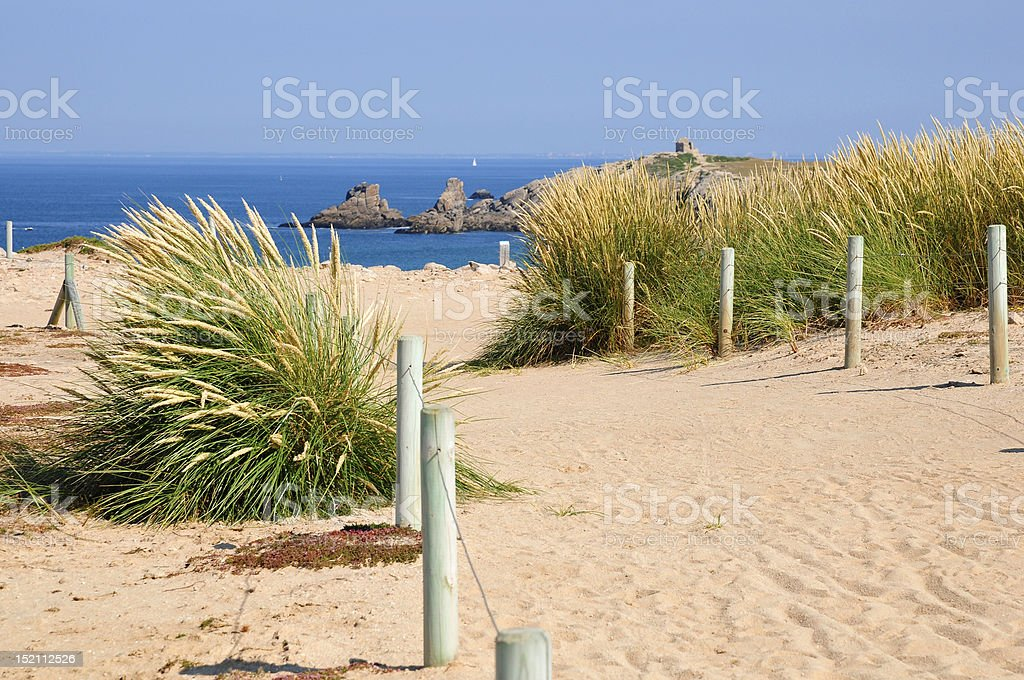 Dunes on the peninsula of Quiberon in France stock photo