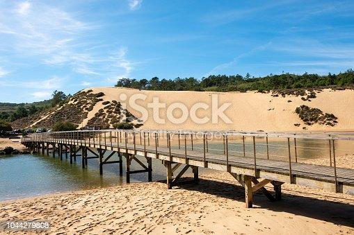 S. Martinho do Porto, Portugal - September 21, 2018 : Entrance of the river Salir do Porto in the bay of S. Martinho do Porto Alcobaca, Portugal