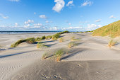 Wide beaches and sand dunes on the Dutch island of Terschelling on a sunny day.