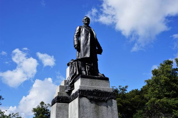 Dunfermline, statue of Andrew Carnegie stock photo