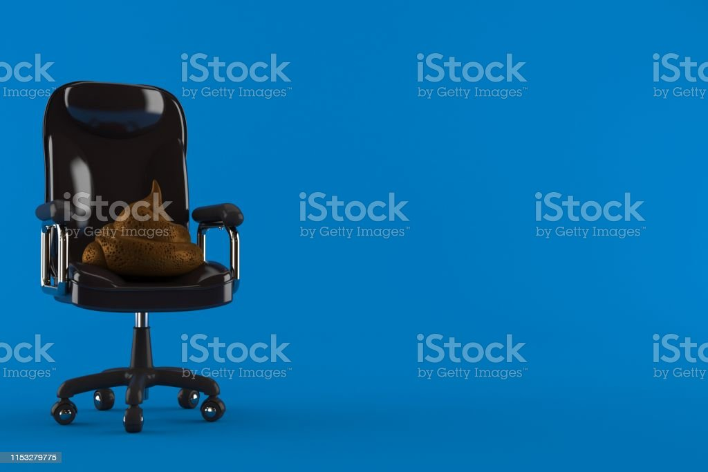 Dung poo on business chair isolated on blue background. 3d...