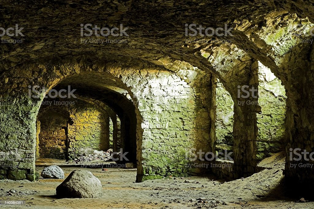 Dungeons of the castle stock photo