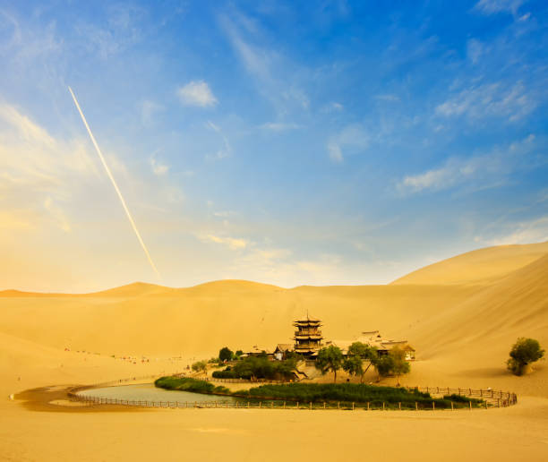 Dunhuang Crescent Moon Spring in an oasis, Gansu province of China stock photo