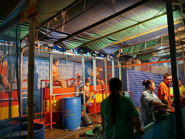 Dunk Tank Game in Temple Fair, Thailand stock photo