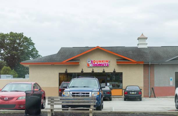 Dunkin' Donuts restauraunt exterior. stock photo