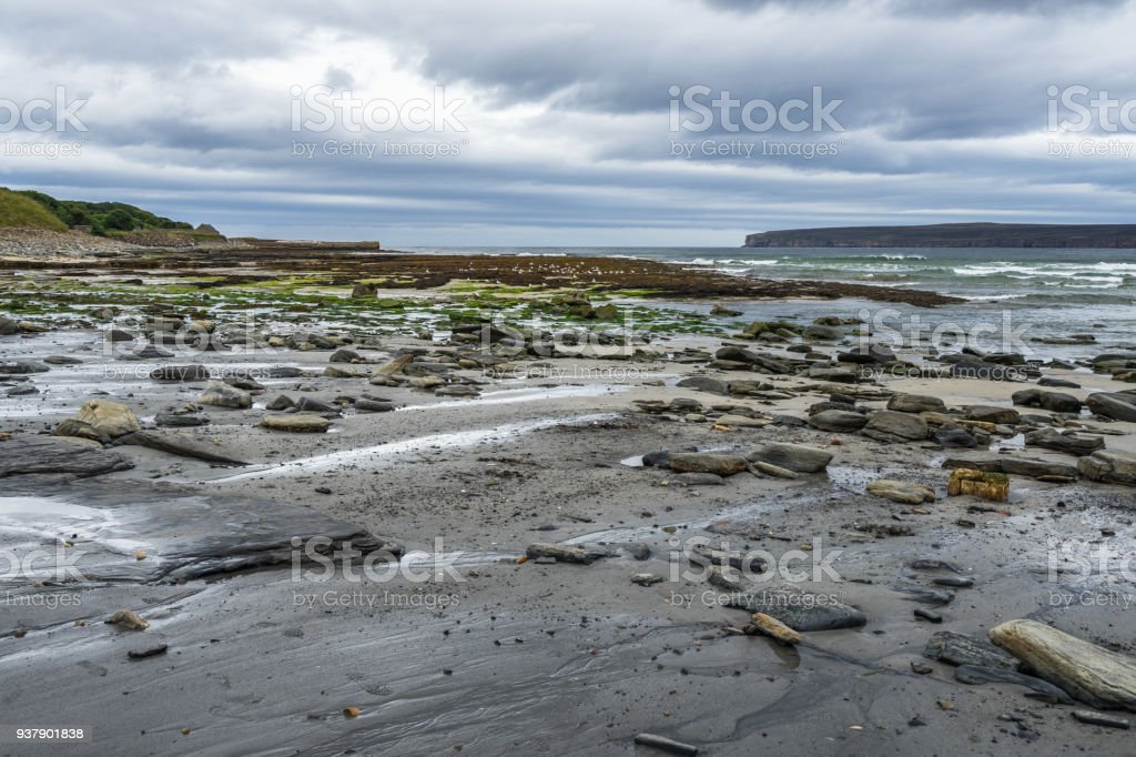 Dunnet Bay and Dunnet Head promontory,  the most northerly point of the mainland Britain, Caithness, Scotland stock photo