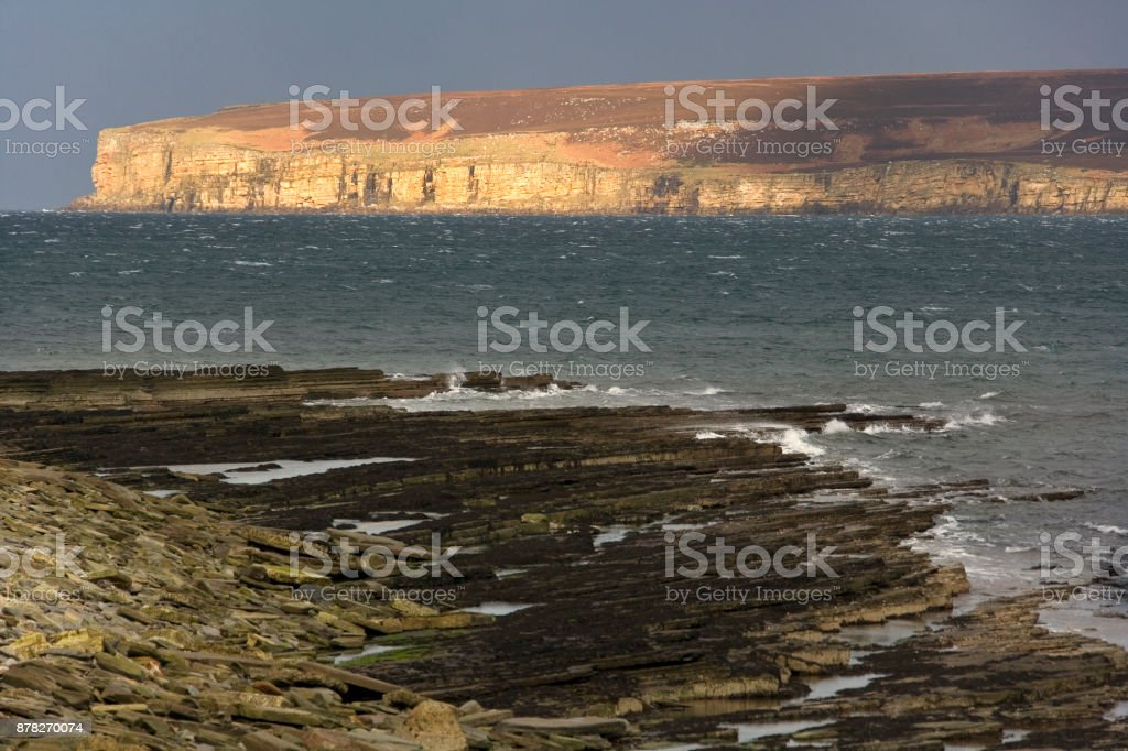 Dunnet Head in Scotland - The most northerly point of the mainland of Great Britain stock photo