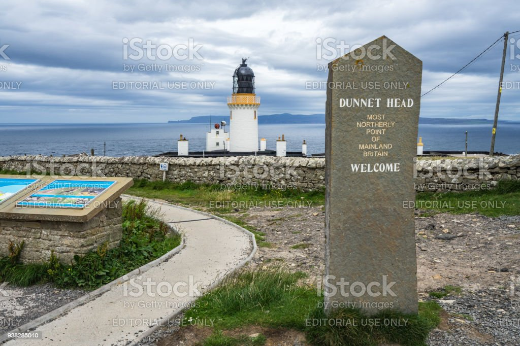 Dunnet Head lighthouse marks the most northerly point of mainland Britain. Dunnet Head, Caithness, Scotland, Britain, August 2017 stock photo