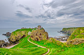 Dunnottar Castle, a ruined castle perched on a giant rock on the edge of the North-Sea, Scotland