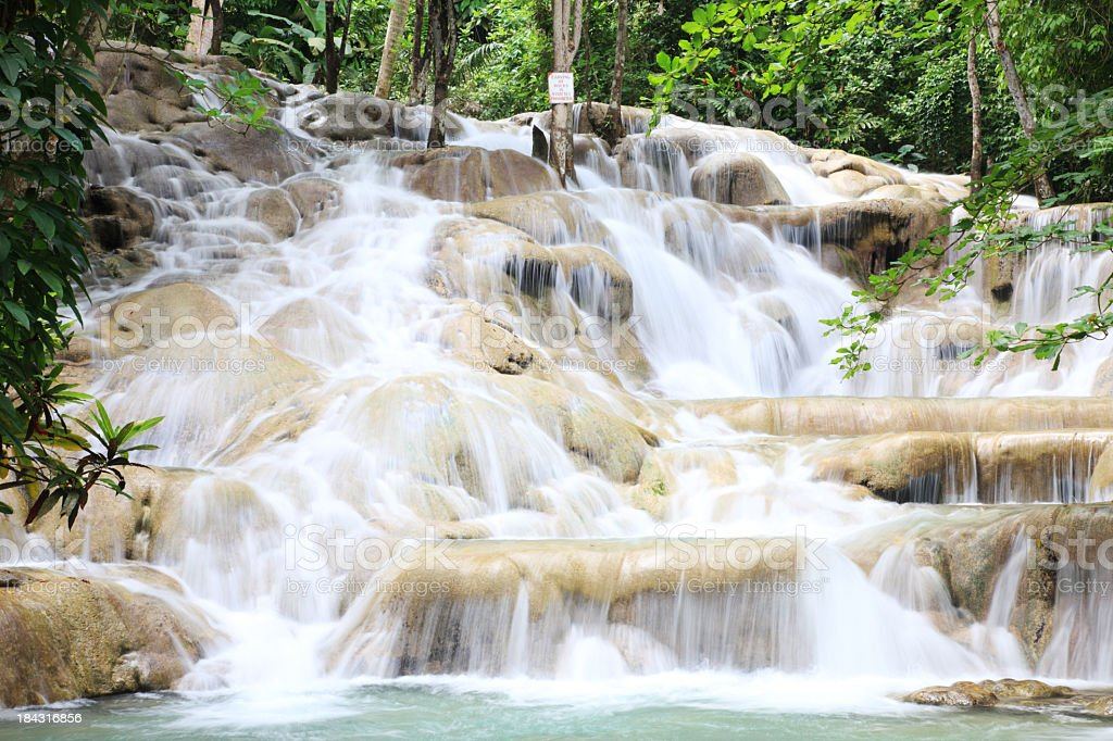 Dunns River Falls in Jamaica during the day stock photo