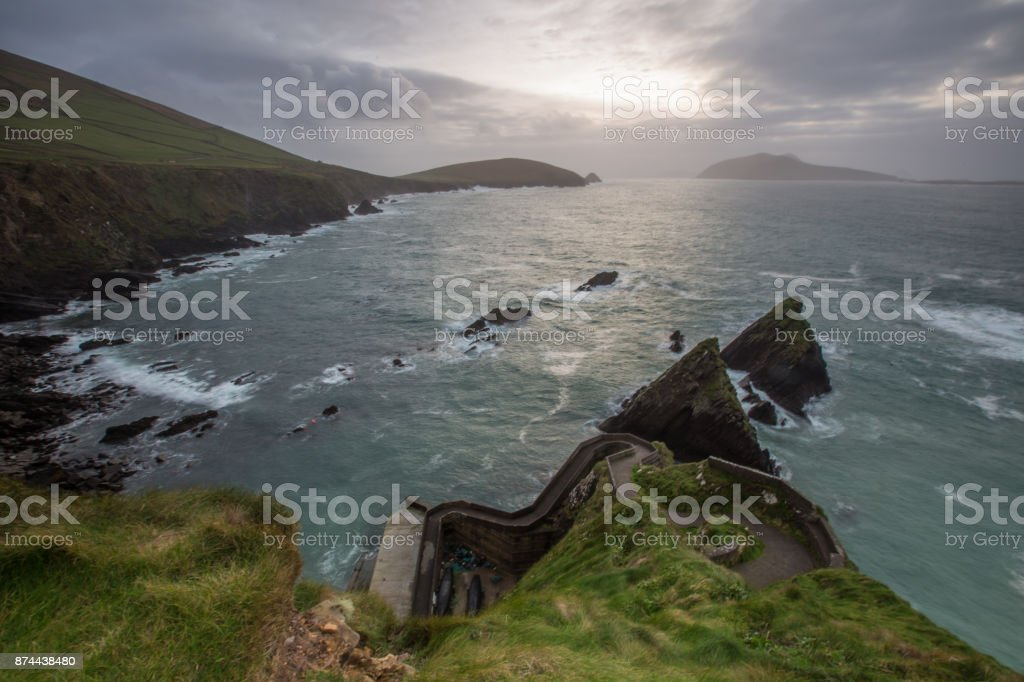 Dunquin Pier at sunset in winter stock photo