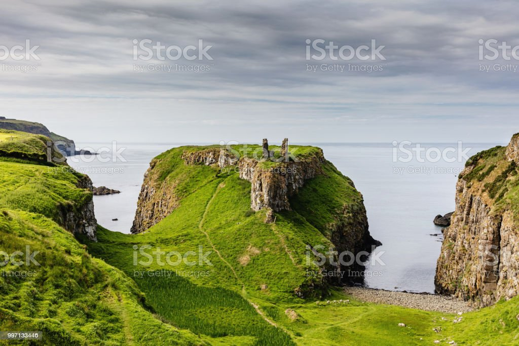 Dunseverick Northern Ireland Causeway Road Coastal Landscape stock photo