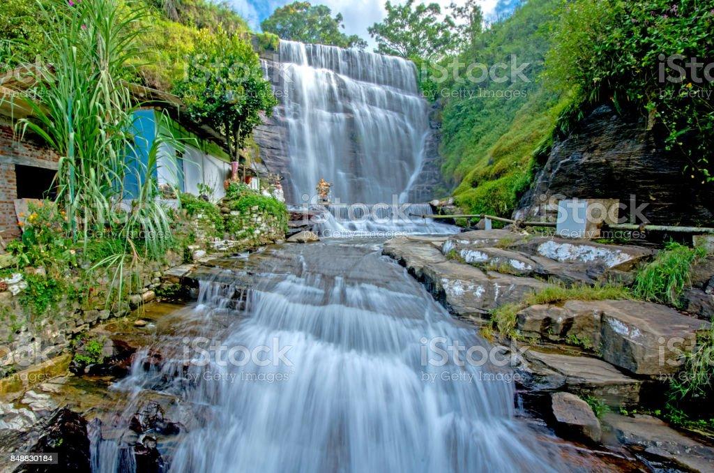 Dunsinane waterfall in Sri Lanka stock photo