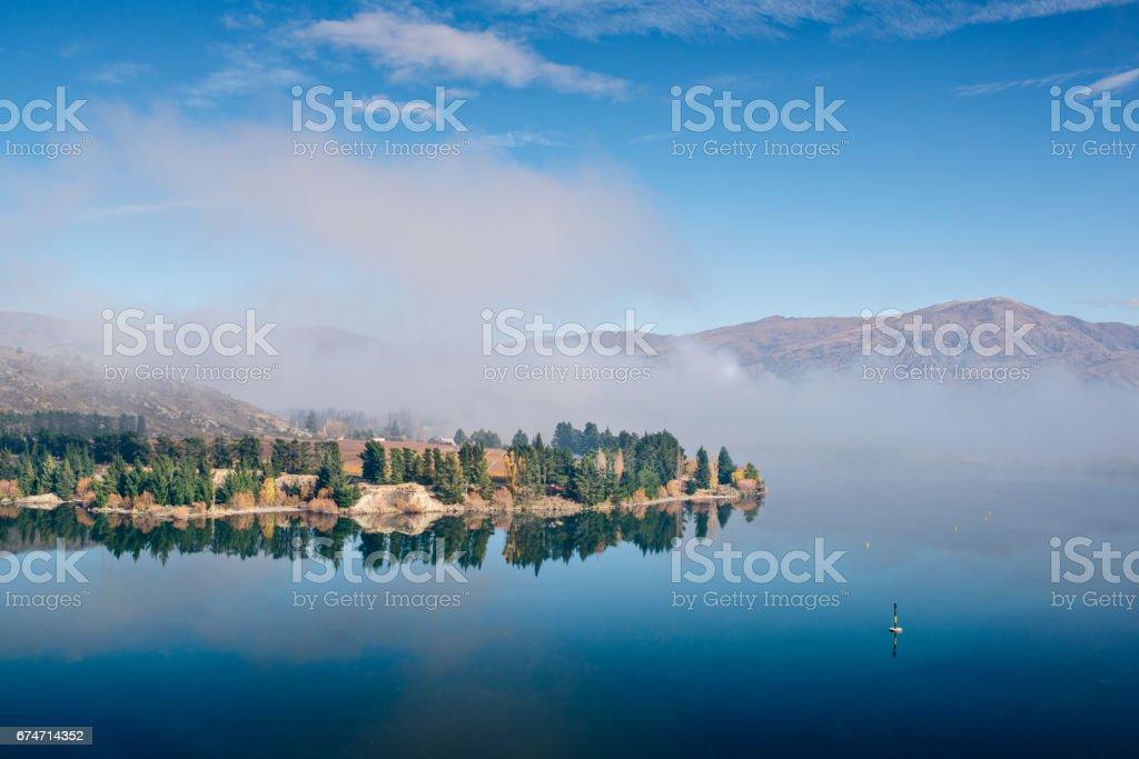 Dunstan lake in Otago, New Zealand. stock photo