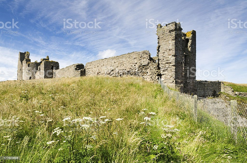 Dunstanburgh Castle close up stock photo