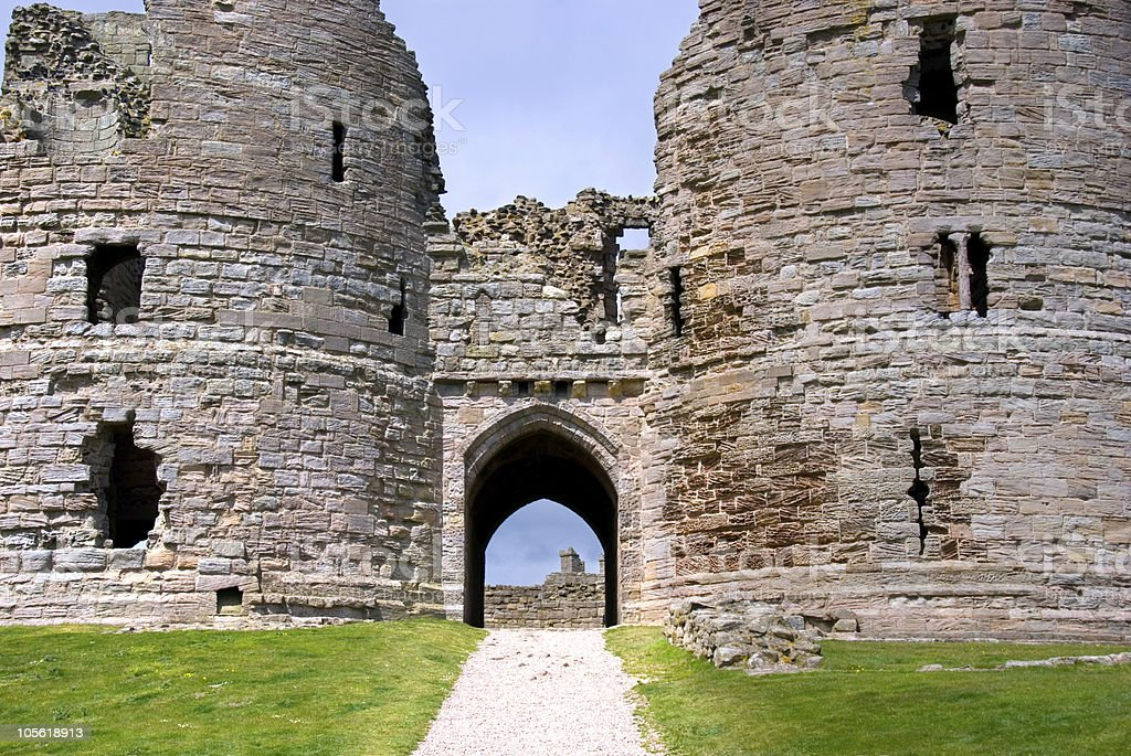 Dunstanburgh Castle gates stock photo