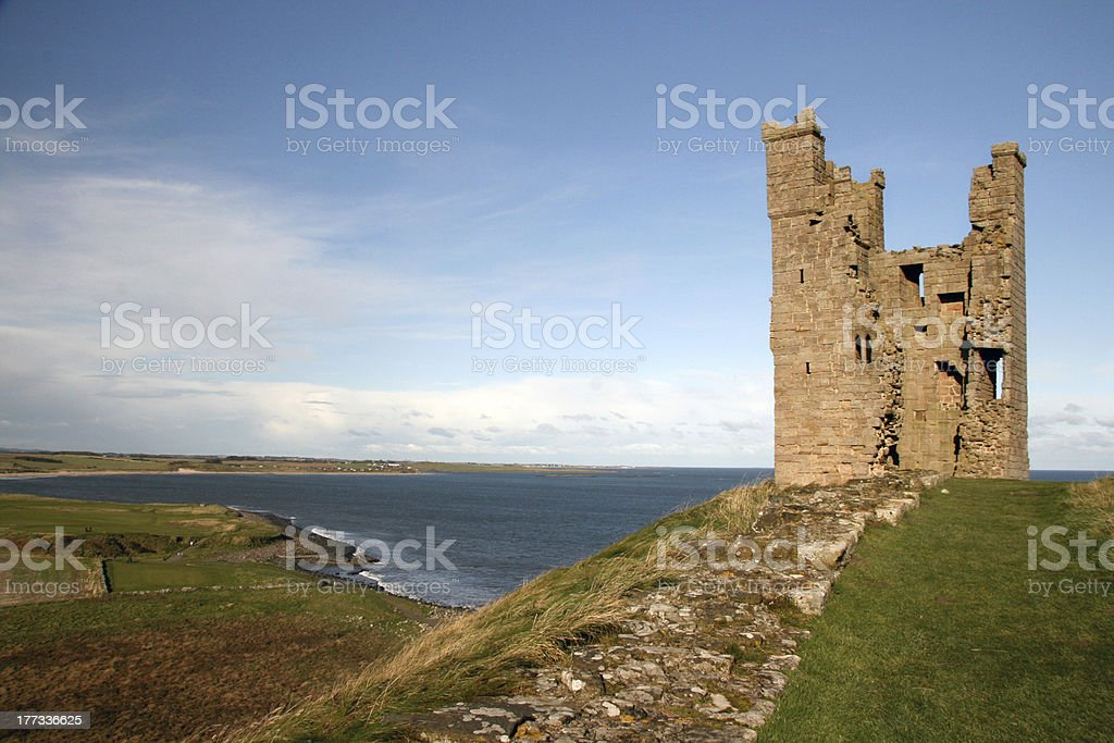 Dunstanburgh Castle Northumberland stock photo