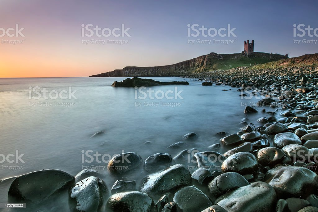 Dunstanburgh Castle Ruins stock photo