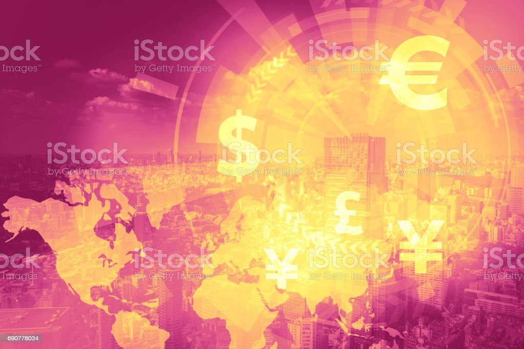 duo tone graphic of financial technology(FinTech) and world economy, abstract image visual stock photo