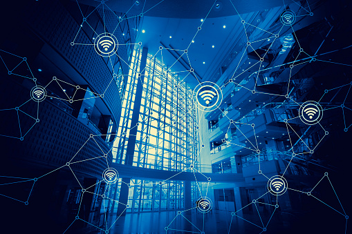 istock duo tone graphic of modern architecture interior and wireless communication network, abstract image visual 690778190
