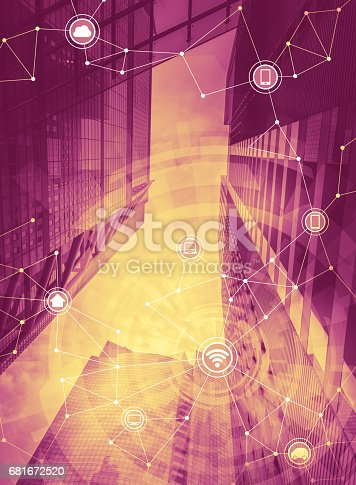 istock duo tone graphic of smart building and wireless communication network, Internet of Things, abstract image visual 681672520