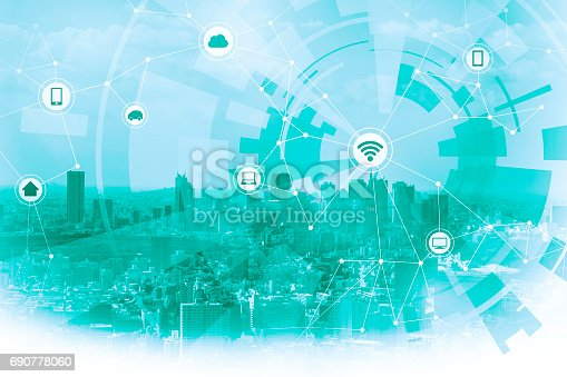 istock duo tone graphic of smart city and wireless communication network 690778060