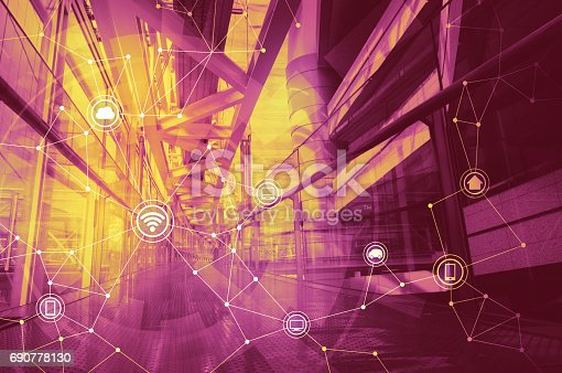 istock duo tone graphic of smart city and wireless communication network 690778130