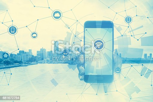 istock duo tone graphic of smart phone and smart city, wireless communication network, abstract image visual 681672754
