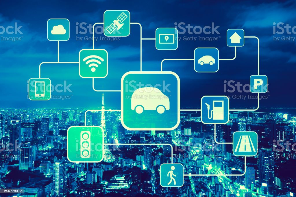 duo tone graphic of smart transportation, wireless communication network, internet of things, abstract image visual stock photo