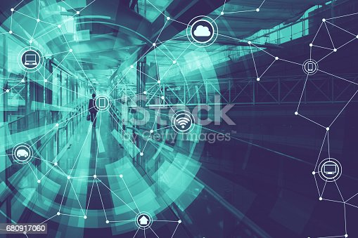 istock duo tone graphic of wireless communication network abstract image visual, internet of things 680917060