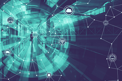 680917060 istock photo duo tone graphic of wireless communication network abstract image visual, internet of things 680917060