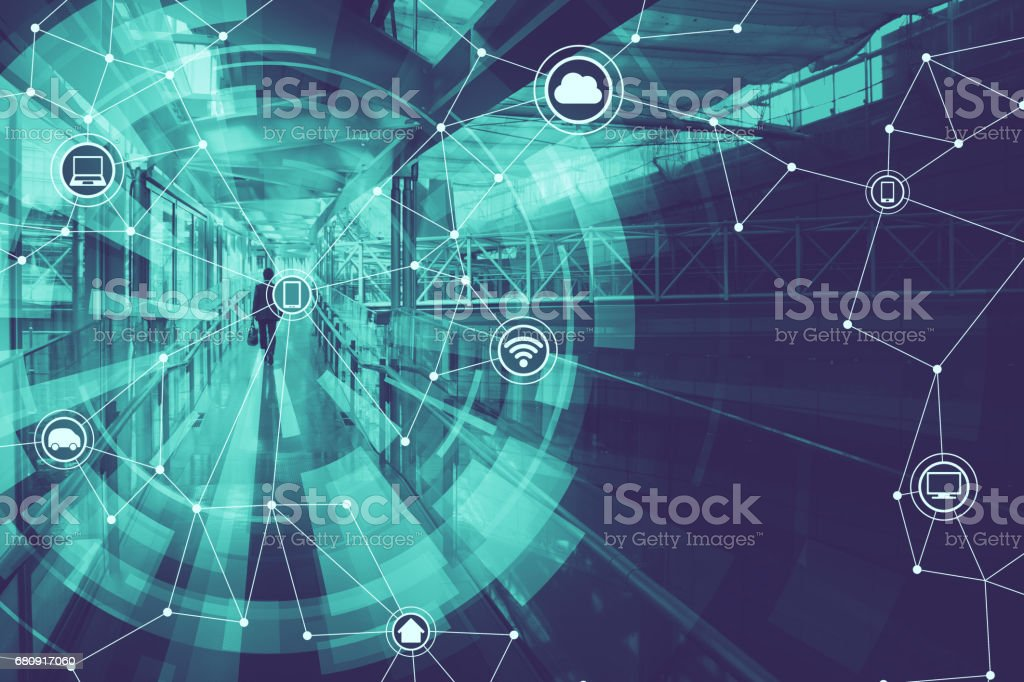 duo tone graphic of wireless communication network abstract image visual, internet of things stock photo