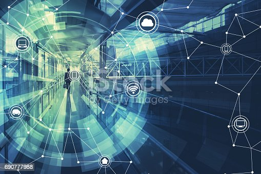 istock duo tone graphic of wireless communication network abstract image visual, internet of things 690777988