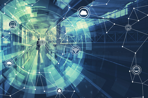680917060 istock photo duo tone graphic of wireless communication network abstract image visual, internet of things 690777988
