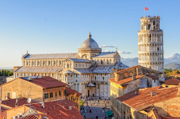 Duomo and the Leaning Tower - Pisa Cathedral (Duomo) and the Leaning Tower photographed from above the roofs, from the Grand Hotel Duomo - Pisa, Tuscany, Italy pisa stock pictures, royalty-free photos & images