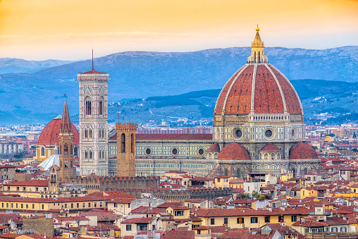 Duomo di Firenze at sunset, Italy.