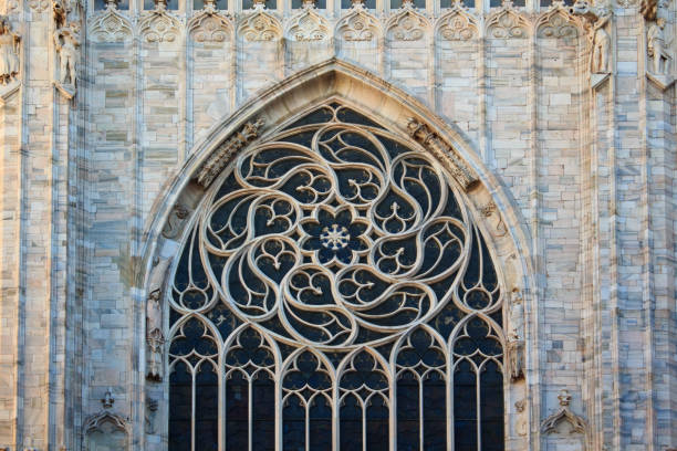 duomo di milano - rose window stock pictures, royalty-free photos & images