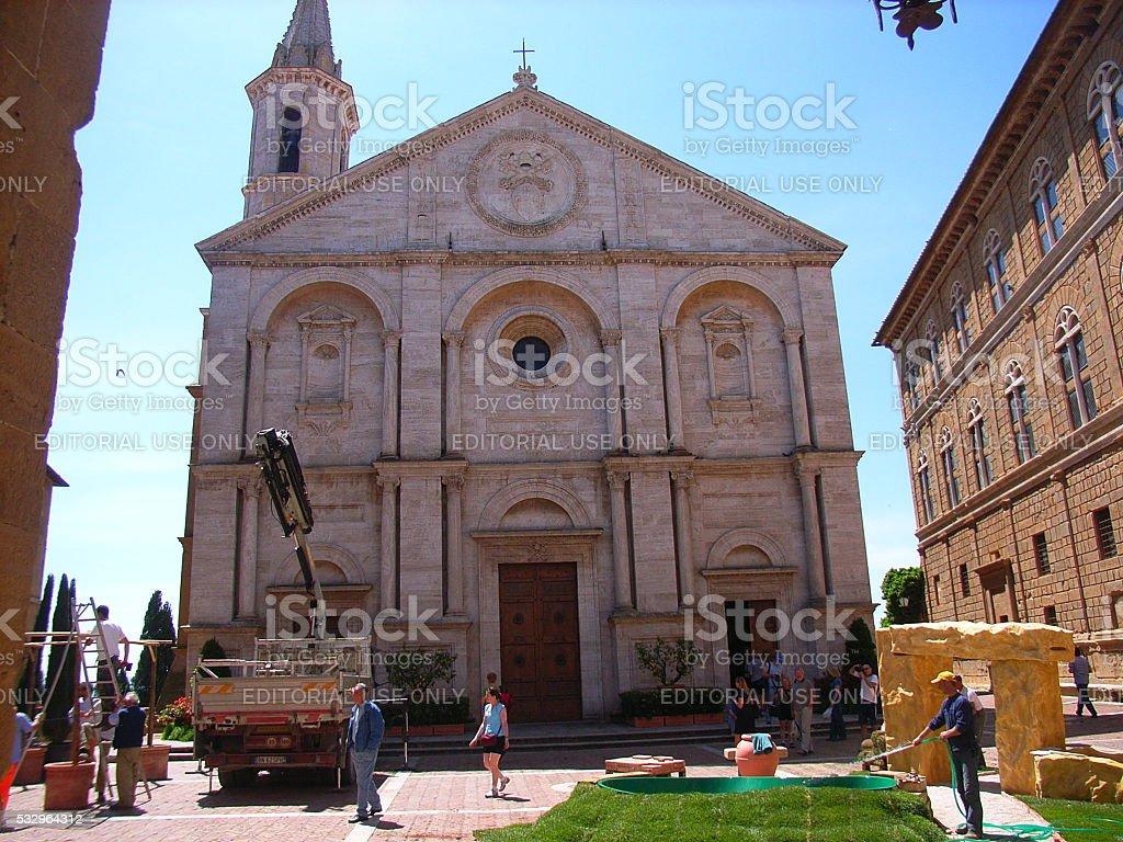 Duomo di Pienza stock photo
