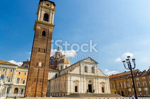 istock Duomo di Torino San Giovanni Battista catholic cathedral where the Holy Shroud of Turin is rested with bell tower and Sacra Sindone chapel on square in historical centre of Turin city, Piedmont, Italy 1201756652