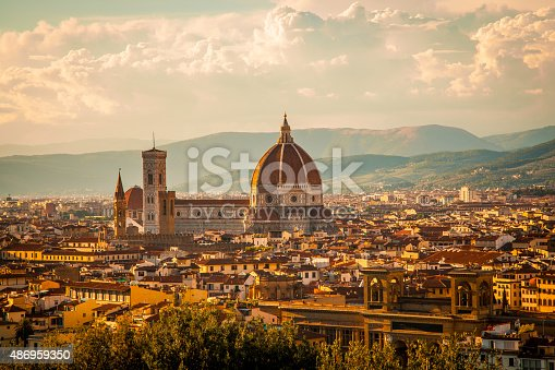 View of the Duomo Santa Maria del Fiore in Florence, Italy photographed from Piazzale Michelangelo on a late afternoon in August.
